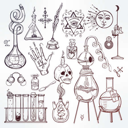 esoteric: Set of trendy vector Alchemy symbols collection. Design and tattoo elements.Vector illustration.