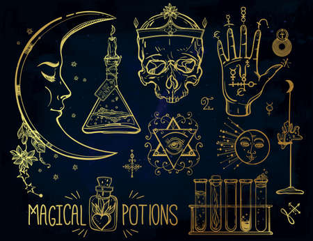 alchemy: Set of trendy vector Alchemy symbols collection. Design and tattoo elements.Vector illustration.