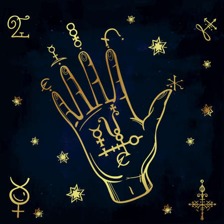 necromancy: Hand drawn vintage fortune teller hand sketch with spell elements . Isolated vector illustration. Science, magic objects doodle style, Alchemy vintage medieval science. Tattoo template