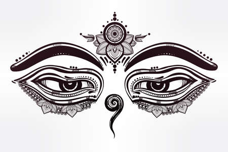 black gods: Hand drawn artwork of Eyes of Buddha, symbol of wisdom, serinity and enlightenment. Isolated vector illustration.