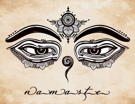 enlightenment: Hand drawn artwork of Eyes of Buddha, symbol of wisdom, serinity and enlightenment. Isolated vector illustration.