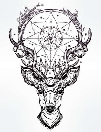 for a dream: Hand drawn romantic beautiful drawing of a deer head with dream catcher. Vector illustration isolated. Ethnic design, tattoo element and tribal symbol for your use.