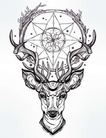 totem indien: Tiré par la main romantique beau dessin d'une tête de cerf avec capteur de rêves. Vector illustration isolé. Conception ethnique, élément de tatouage et de symbole tribal pour votre usage. Illustration