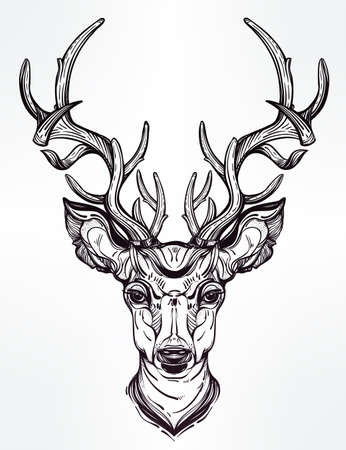 christmas tattoo: Hand drawn romantic beautiful drawing of a deer head. Vector illustration isolated. Ethnic design, tattoo element and tribal symbol for your use.