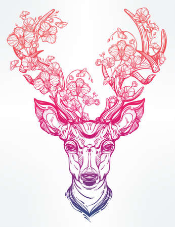 Hand drawn romantic beautiful drawing of a deer head adorened with flowers . Vector illustration isolated. Ethnic design, tattoo element and tribal symbol for your use.