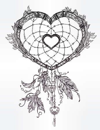 dessin coeur: Dessiné à la main dessin romantique de un capteur de rêves en forme de coeur, de plumes et de feuilles. Vector illustration isolé. Conception de tatouage ethnique avec des éléments Indiens d'Amérique, symbole tribal.