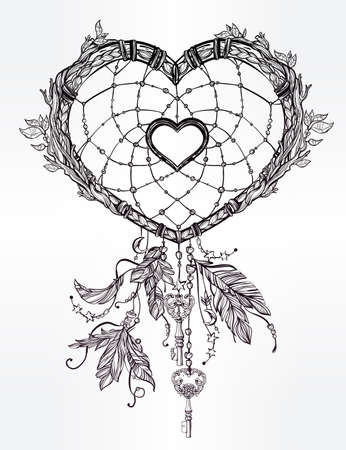 spiritual: Hand drawn romantic drawing of a heart shaped dream catcher, feathers and leaves. Vector illustration isolated. Ethnic tattoo design with American Indians elements, tribal symbol.