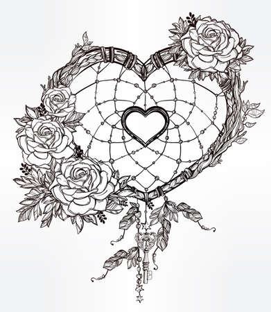 dreams: Hand drawn romantic drawing of a heart shaped dream catcher, feathers and leaves. Vector illustration isolated. Ethnic tattoo design with American Indians elements, tribal symbol.