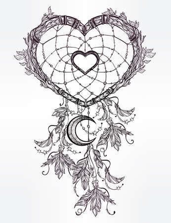 dreams: Hand drawn romantic drawing of a heart shaped dream catcher, feathers and moon. Vector illustration isolated. Ethnic tattoo design with American Indians elements, tribal symbol.