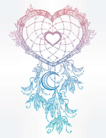 Hand drawn romantic drawing of a heart shaped dream catcher, feathers and moon. Vector illustration isolated. Ethnic tattoo design with American Indians elements, tribal symbol.