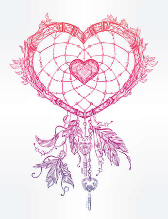 day dream: Hand drawn romantic drawing of a heart shaped dream catcher, feathers and leaves. Vector illustration isolated. Ethnic tattoo design with American Indians elements, tribal symbol.