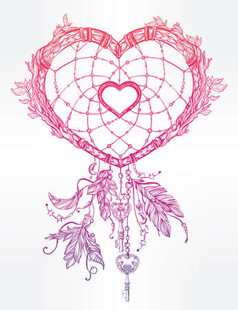 heart shaped leaves: Hand drawn romantic drawing of a heart shaped dream catcher, feathers and leaves. Vector illustration isolated. Ethnic tattoo design with American Indians elements, tribal symbol.