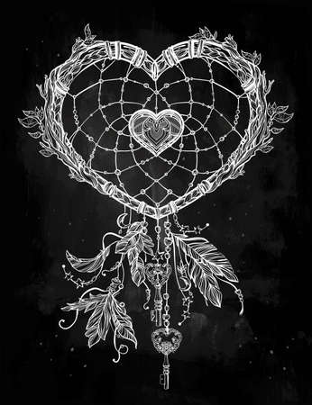 native american art: Hand drawn romantic drawing of a heart shaped dream catcher, feathers and leaves. Vector illustration isolated. Ethnic tattoo design with American Indians elements, tribal symbol.