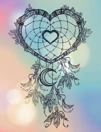 day dream: Hand drawn romantic drawing of a heart shaped dream catcher, feathers and moon. Vector illustration isolated. Ethnic tattoo design with American Indians elements, tribal symbol.