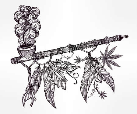 Hand drawn beautiful artwork of traditional Indian smoking pipe of peace adorned with cannabis leaf. Vector illustration isolated. Ethnic design, tattoo base and mystic tribal symbol for your use. Illustration