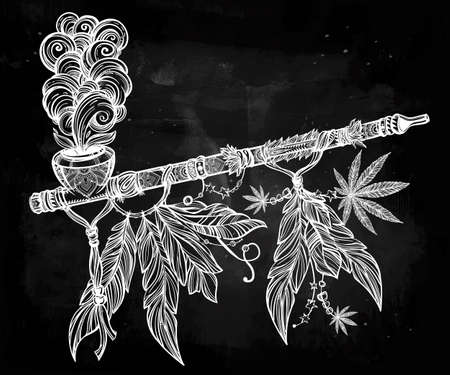 peace pipe: Hand drawn beautiful artwork of traditional Indian smoking pipe of peace adorned with cannabis leaf. Vector illustration isolated. Ethnic design, tattoo base and mystic tribal symbol for your use. Illustration