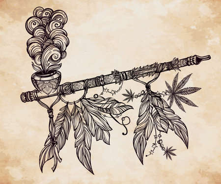 cannabis leaf: Hand drawn beautiful artwork of traditional Indian smoking pipe of peace adorned with cannabis leaf. Vector illustration isolated. Ethnic design, tattoo base and mystic tribal symbol for your use. Illustration