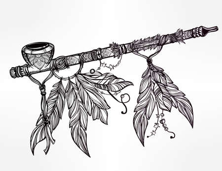 adorned: Hand drawn beautiful artwork of traditional Indian smoking pipe of peace adorned with feathers. Vector illustration isolated. Ethnic design, tattoo base and mystic tribal symbol for your use.