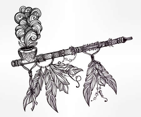 Hand drawn beautiful artwork of traditional Indian smoking pipe of peace with smoke coming out. Vector illustration isolated. Ethnic design, tattoo base and mystic tribal symbol for your use.