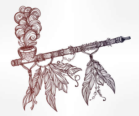 out of use: Hand drawn beautiful artwork of traditional Indian smoking pipe of peace with smoke coming out. Vector illustration isolated. Ethnic design, tattoo base and mystic tribal symbol for your use.