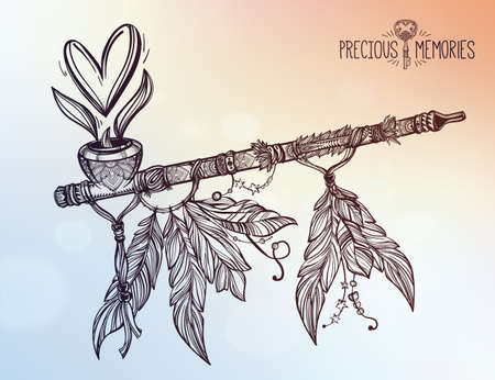 smoking pipe: Hand drawn beautiful artwork of traditional Indian smoking pipe of peace with heart of smoke. Vector illustration isolated. Ethnic design, tattoo base and mystic tribal symbol for your use.