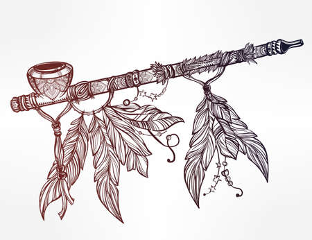 peace pipe: Hand drawn beautiful artwork of traditional Indian smoking pipe of peace adorned with feathers. Vector illustration isolated. Ethnic design, tattoo base and mystic tribal symbol for your use.