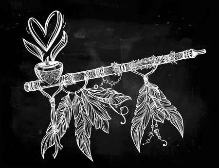 Hand drawn beautiful artwork of traditional Indian smoking pipe of peace with heart of smoke. Vector illustration isolated. Ethnic design, tattoo base and mystic tribal symbol for your use.