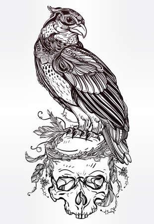 oiseau dessin: main détaillée attirée oiseau de proie sur un crâne. Vector illustration isolé. objets de nature tribale. Tattoo contour, invitation, carte, t-shirt, sac, carte postale, affiche. Illustration