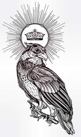 bird of prey: Detailed hand drawn bird of prey with a shiny crown.
