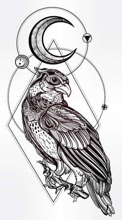 occult: Detailed hand drawn bird of prey with sacred geometry moon.