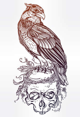 bird: Detailed hand drawn bird of prey on a skull. Vector illustration isolated. Tribal nature objects. Tattoo outline, invitation,card, t-shirt, bag, postcard, poster.