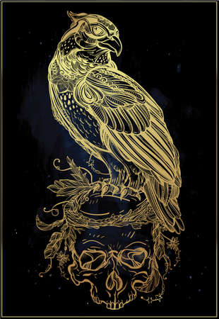 golden eagle: Detailed hand drawn bird of prey on a skull. Vector illustration isolated. Tribal nature objects. Tattoo outline, invitation,card, t-shirt, bag, postcard, poster.
