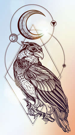 alchemy: Detailed hand drawn bird of prey with sacred geometry moon. Vector illustration isolated. Tribal nature objects. Tattoo outline.