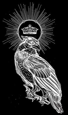 bird of prey: Detailed hand drawn bird of prey with a shiny crown. Vector illustration isolated. Tribal nature objects. Tattoo outline. Retro banner, invitation,card, t-shirt, bag, postcard, poster. Illustration