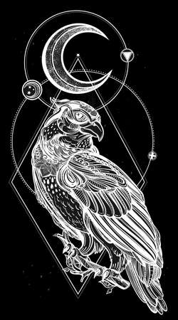 pagan: Detailed hand drawn bird of prey with sacred geometry moon. Vector illustration isolated. Tribal nature objects. Tattoo outline.
