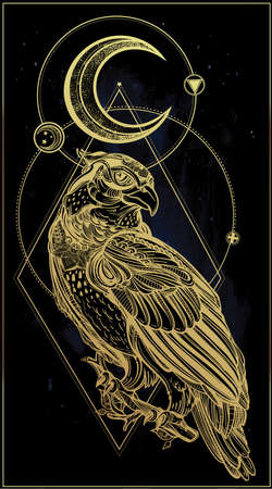golden eagle: Detailed hand drawn bird of prey with sacred geometry moon. Vector illustration isolated. Tribal nature objects. Tattoo outline.