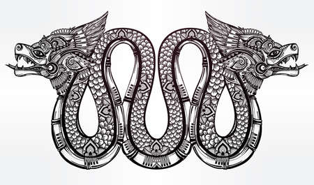 mesoamerican: Hand drawn ornate beautiful line art of sacred mythological winged serpent. Illustration