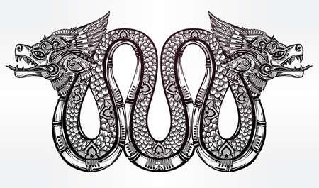latin: Hand drawn ornate beautiful line art of sacred mythological winged serpent. Illustration