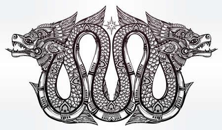 tribal dragon: Highly detailed ornate beautiful line art of sacred mythological winged dragon. Illustration