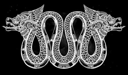 quetzalcoatl: Hand drawn ornate beautiful line art of sacred mythological winged serpent. Vector illustration isolated. Ethnic print design, pagan tattoo, mystic tribal symbol for your use.