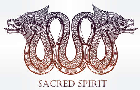 Hand drawn ornate beautiful line art of sacred mythological winged serpent. Vector illustration isolated. Ethnic print design, pagan tattoo, mystic tribal symbol for your use.