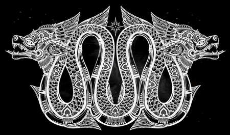 Highly detailed ornate beautiful line art of sacred mythological winged dragon. Vector illustration isolated. Ethnic print design, pagan tattoo, mystic tribal symbol for your use. Illustration