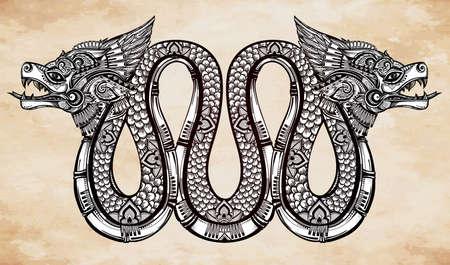 Hand drawn ornate beautiful line art of sacred mythological winged serpent. Illustration