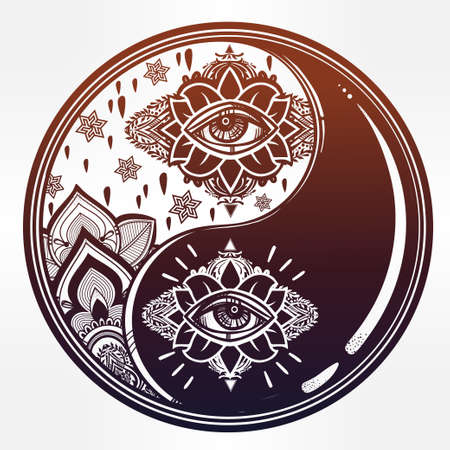 Yin and yang boho symbol.