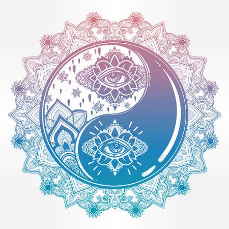 Mandala Yin and yang boho symbol.