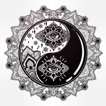 symbols of peace: Mandala Yin and yang boho symbol.