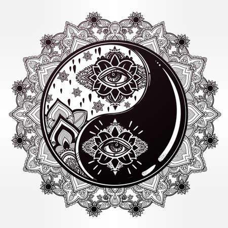 signs and symbols: Mandala Yin and yang boho symbol.
