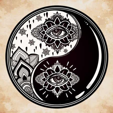 yin y yan: Yin y Yang símbolo boho. ilustración vectorial aislado. Símbolo de la vendimia decoración oriental de la armonía, el equilibrio. Tatuaje, yoga, espiritualidad, textiles.