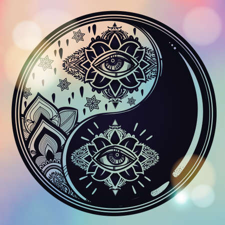 spirituality: Yin and yang boho symbol. Vector isolated illustration. Vintage decorative oriental symbol of harmony, balance. Tattoo, yoga, spirituality, textiles.