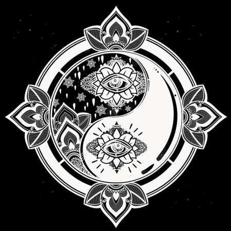 spirituality: Yin and yang trendy boho symbol. Vector isolated illustration. Vintage decorative oriental symbol of harmony, balance. Tattoo, yoga, spirituality, textiles.